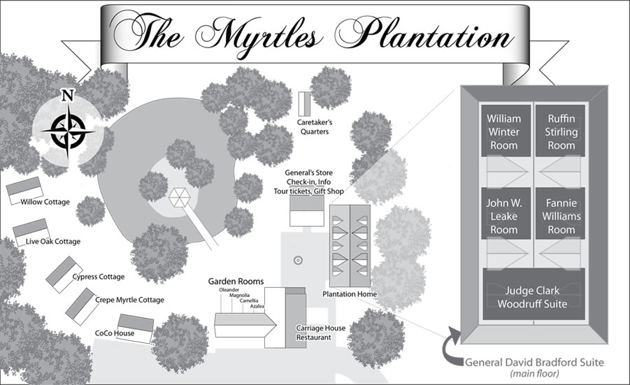 Myrtles Plantation grounds map